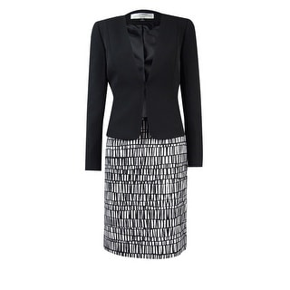 Tahari Women's Petite Crepe Jacket and Printed Skirt Suit