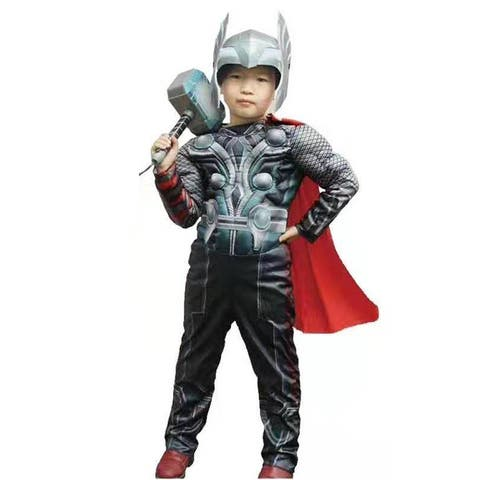 Black The Avengers Thor Muscle Halloween Costume Big Kids Unisex - Large (7/8)