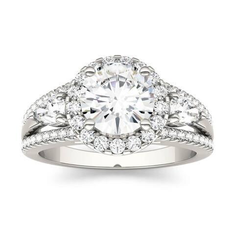 14k White Gold 2.50ct Round Moissanite Halo Engagement Ring