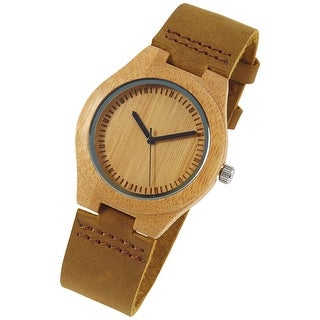 Unisex Adult Bamboo Wrist Watch -Nubuck Band- I Love You More Every Second Engraved
