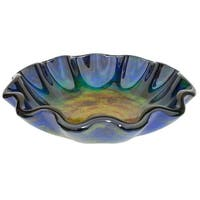 Eden Bath Wave Rim Multi Color Glass Vessel Sink