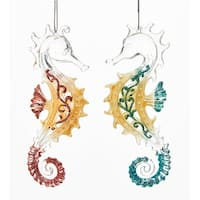 Kurt Adler Red and Teal Seahorses With Glitter  Holiday Ornaments Set of 2