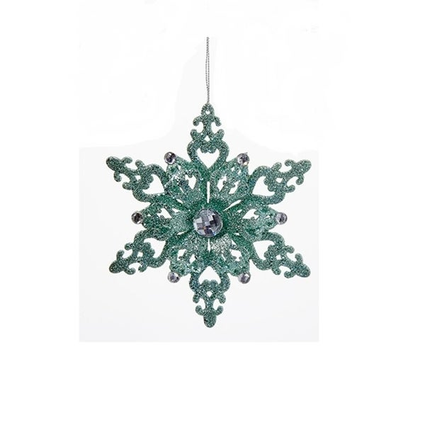 """5.5"""" Silent Luxury Mint Green Wooden Glittered Snowflake with Gems Christmas Ornament"""
