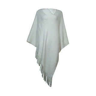 Charter Club Women's Fringed Ribbed Sweater Poncho