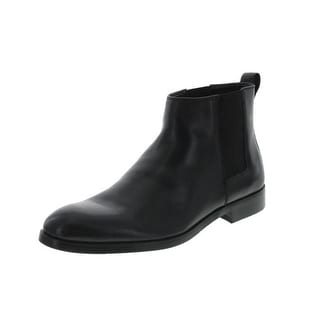 Calvin Klein Mens Cambell Leather Stretch Ankle Boots