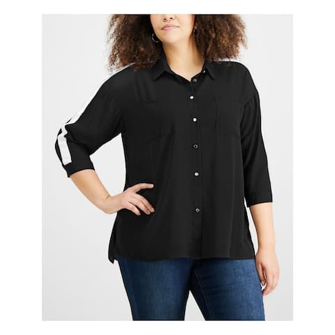 NY COLLECTION Womens Black 3/4 Sleeve Collared Button Up Top Size 1X