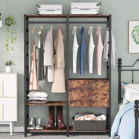 Free-standing Closet Clothes Rack with Two Drawers Handing Rod and Shelves