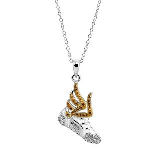 Crystaluxe Flying Sneaker Pendant with Swarovski Crystals in Sterling Silver - White