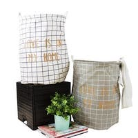 G Home Collection Gold Letter Grid Pattern Fabric Laundry Basket White and Gray (Set of 2)