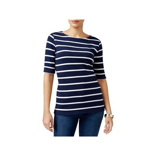 Karen Scott Womens Petites Blouse Boat Neck Striped