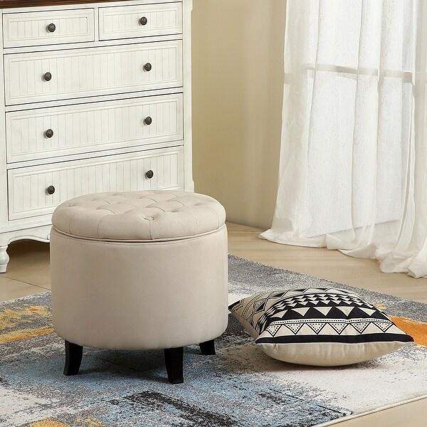 """Belleze Modern Button Tufted Accent Storage Ottoman Lift Top Footstool 17-3/4"""" Round, Beige"""