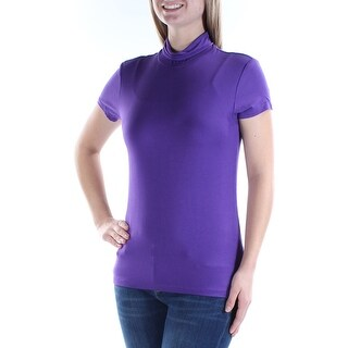 Womens Purple Short Sleeve Turtle Neck Casual Top Size XL