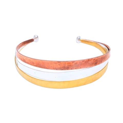 NOVICA Metallic Rainbow, Gold accented sterling silver cuff bracelet