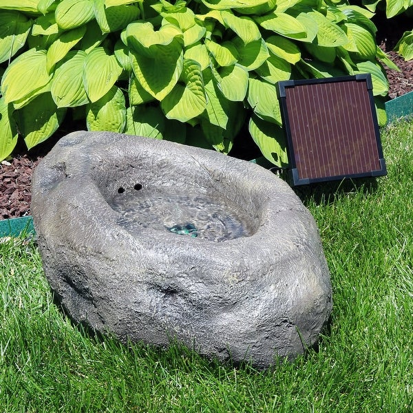 Sunnydaze Stone Pond Solar On Demand Led Outdoor Water Fountain 9 Inch