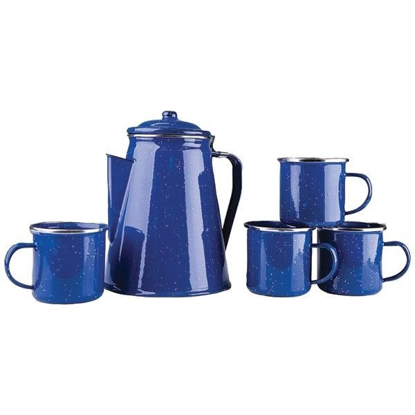 Stansport 11230 Enamel 8-Cup Coffee Pot With Percolator & Four 12Oz Mugs