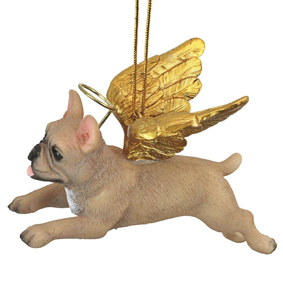 French Bulldog Ornament Angel Figurine Hand Painted Fawn