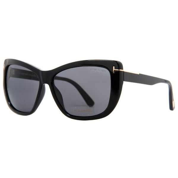 b1e6eab845ca2 Tom Ford Lindsay TF 434 01D Black Grey Polarized Women  x27 s Butterfly  Sunglasses