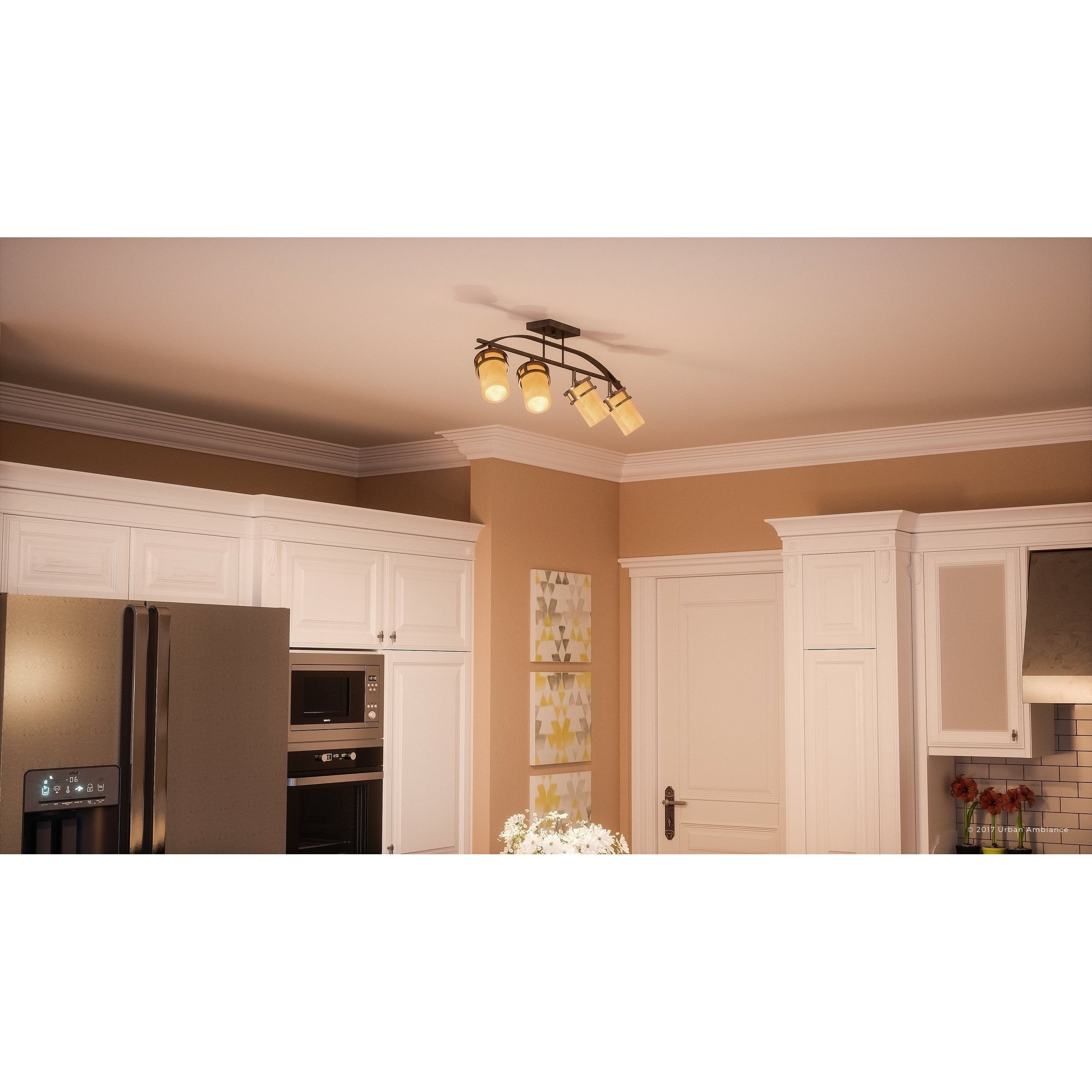 Luxury Rustic Track Lighting 14 5 H X 36 W With Craftsman Style Banded Wrought Iron Design Royal Bronze Finish