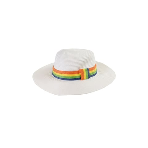 August Hat White Multi Stripe Band Floppy Hat OS