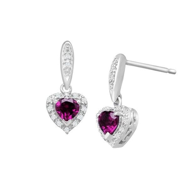 3/4 ct Natural Rhodolite Garnet Heart Mini Drop Earrings with Diamonds in Sterling Silver