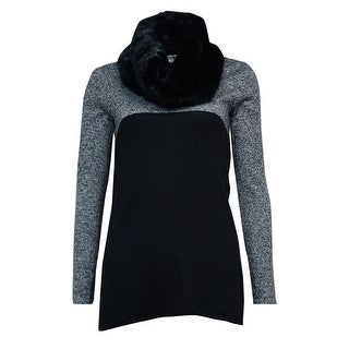 Style & Co. Women's Faux Fur Colorblock Tunic Sweater - BLACK/WHITE