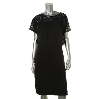 Adrianna Papell Womens Lace Yoke Shutter Pleat Wear to Work Dress - 10