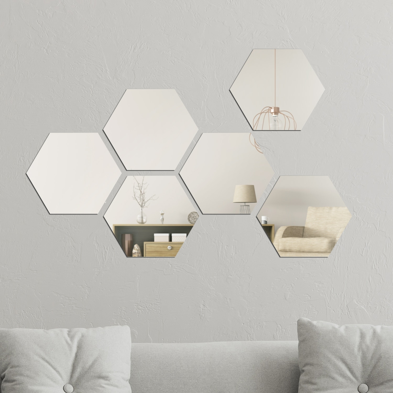 Walplus Minimalist Hexagon Acrylic Wall Mirror Tiles Diy Home Decor Overstock 31866828