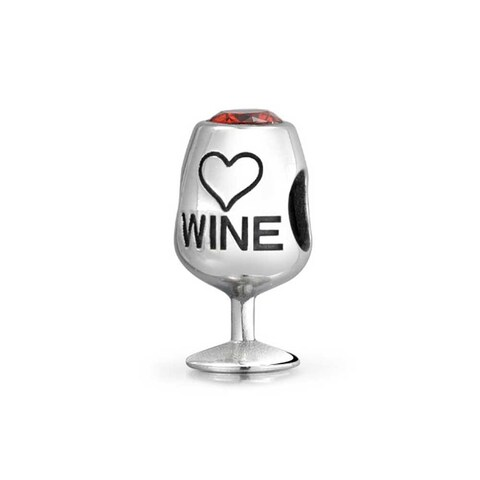 Bling Jewelry 925 Silver Red CZ Wine Cup Bead Charm