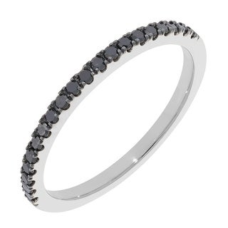Prism Jewel 0.20Ct Round Black Diamond Stackable Anniversary Band, 1.80mm Wide