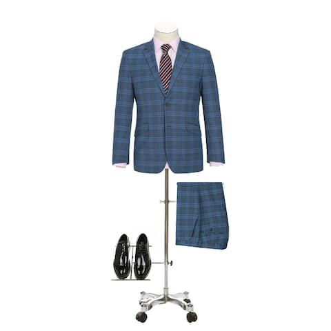 Men's Slim Fit Notch Lapel Stretch Windowpane 2-Piece Suit
