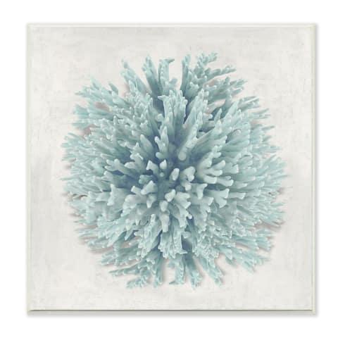 Stupell Industries Coral Ball Blue Sea Beach Design,12 x 12, Wood Wall Art