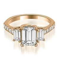 1.90 cttw. 14K Rose Gold Lucida Three-Stone Diamond Emerald Engagement Ring