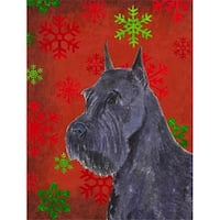 Schnauzer Red And Green Snowflakes Holiday Christmas Flag - Garden
