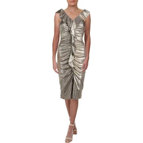 bd1267a327b Gianni Bini Womens Jody Cocktail Dress Metallic Midi