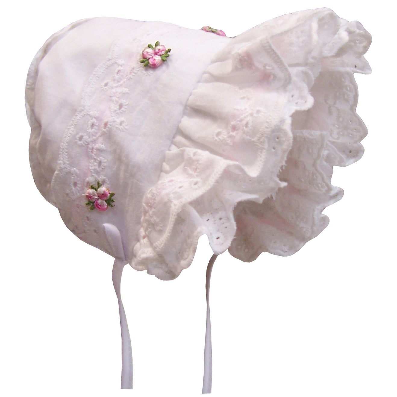 NIce Caps Baby Girl Fancy Double Brimmed Eyelet Bonnet