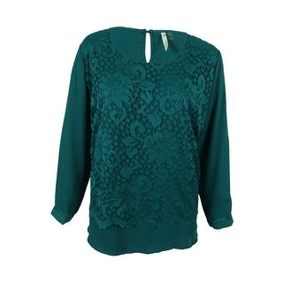 NY Collection Women's Plus Size High-Low Lace Top