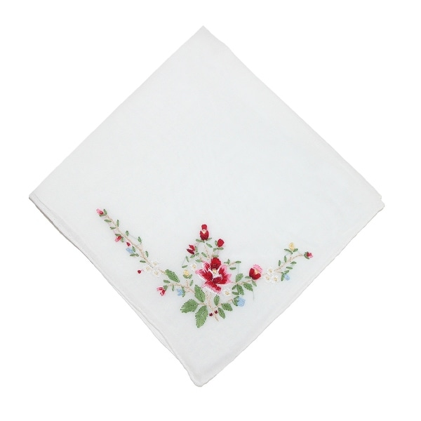 CTM® Women's Cotton Floral Embroidered Handkerchief