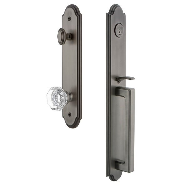 """Grandeur ARCDGRCHM_ESET_234 Arc Solid Brass Rose Keyed Entry Single Cylinder Full Plate """"D"""" Grip Handleset with Chambord"""