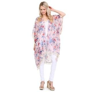 Riah Fashion's Sheer Tassel Floral-Striped Cardigan