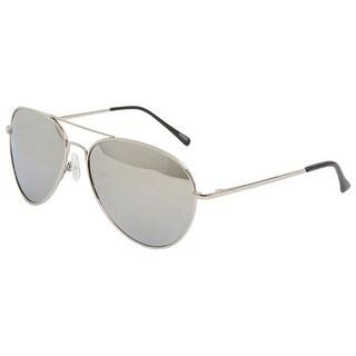 Classic Premium Silver Mirror Lens Aviator Sunglasses + Free Micro Case - One size