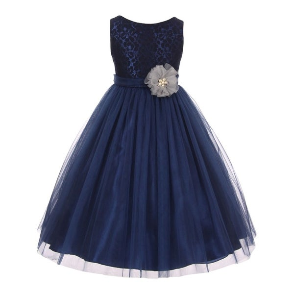 1958de8619 Shop Little Girls Navy Lace Pearl Floral Adorned Tulle Flower Girl Dress 2T- 6 - Free Shipping Today - Overstock - 18166305
