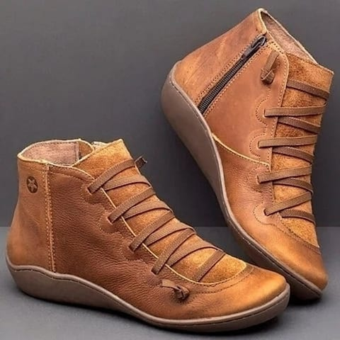 Ladies Casual Flat Leather Lace-Up Boots Zipper Boots