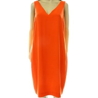 Lauren By Ralph Lauren NEW Orange Women's 8 Shift Solid V-Neck Dress