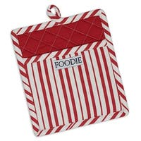 """Set of 2 Striped Red Peppermint Pot Holder 9"""" - White"""