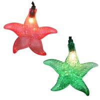 Set of 10 Tropical Beach Starfish Novelty Christmas Lights - Green Wire - multi