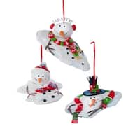 """Club Pack of 12 Holiday Festive Melting Snowman Claydough Christmas Ornaments 4"""" - White"""