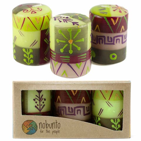 """Hand Painted Votive Candles in """"Kileo"""" Design (box of three)"""