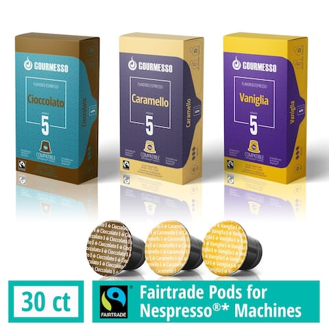 Gourmesso Capsules for Nespresso Machines - 30 ct Flavor Variety - Compatible Fairtrade Coffee Pods