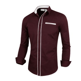 Men Point Collar Single Breasted Long Sleeves Casual Piped Shirt