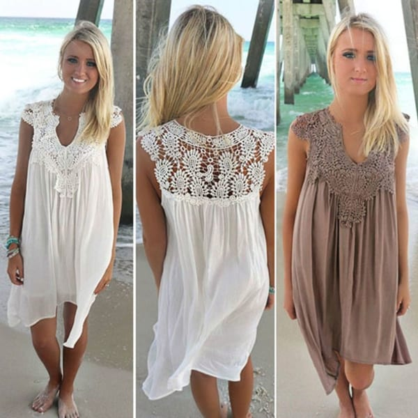 Lace and Chiffon Patchwork Loose Casual Dress